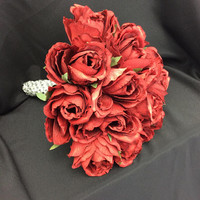 Red silk flowers bouquet for 2nd Wedding, Old Fashioned Red Bouquet, Sparkly bouquet with Silver rhinestones