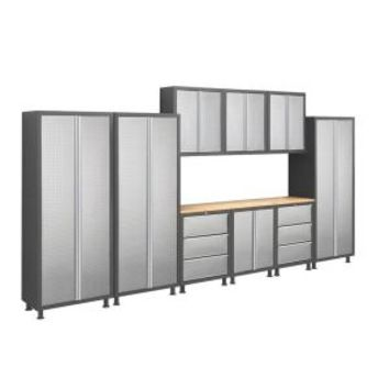 NewAge Products, Bold Diamond Plate Series 14 ft. Welded 23 Gage Steel Workshop/Garage Cabinet Set (10-Piece), 39323 at The Home Depot - Mobile