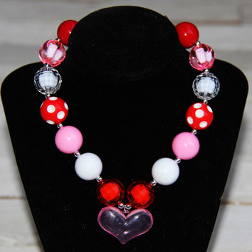 Red White Pink with Heart Charm Chunky Beaded Necklace