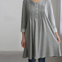 Cotton accordion pleats dress/ cotton Long t shirt/ Bottoming Long gown in gray