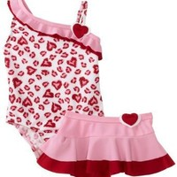 Baby Bunz Girls Infant Leopard Love Swimsuit With Skirt