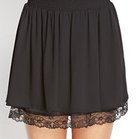Lace Trim Chiffon Skirt