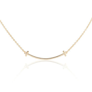 """14k Gold Plated Sterling Silver 16"""" + 2"""" Extension Engraveable Curved Smile Necklace"""