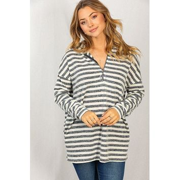 Sea Of Cortez Grey And White Striped Long Sleeve Hoodie Top