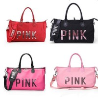 Pink Letter Sequin Large Duffle Bags