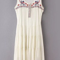 White Sleeveless National Embroidery Cotton Hemp Dress