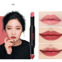 Hunputa Lipstick,Korean Dual Ended Long Lasting Waterproof Lip Pencil Jelly Lip Pen Moisturizing Matte Lipstick Lip Gloss Beauty Makeup Tool (E)