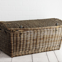Large Wicker English Travel Trunk - Made in France - c. Early 1900's