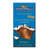 Ghirardelli Gourmet Milk Chocolate 3.5-Ounce Bars - Coconut Rendezvous: 12-Piece Caddy   CandyWarehouse.com Online Candy Store