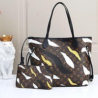 Onewel LV Bag Louis Vuitton Shoulder Bag Coffe Yellow Camouflage Contrast Two Piece Shopping Bag