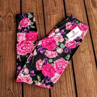 Spring Fling Rose Floral Print Leggings TC & OS!!