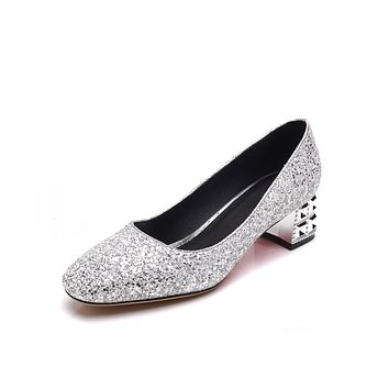 Lady Spring Autumn Sequined Wmen Chunky Heels Pumps Wedding Shoes
