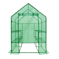Deluxe Outdoor Portable Lawn And Garden Walk-In Greenhouse With Eight Shelves