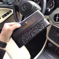 Versace Greek Keys Leather Embossed Logo Credit Card ID Wallet
