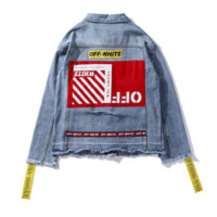 Off White Autumn And Winter New Fashion Letter Print String Mark Cowboy Women Men Long Sleeve Coat Blue
