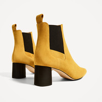 STRETCH LEATHER ANKLE BOOTS