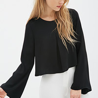 FOREVER 21 Pleated Bell-Sleeve Top