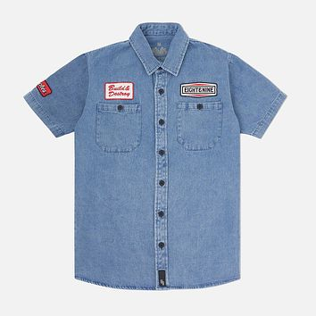Patched Out Mechanic Shirt Mid Washed