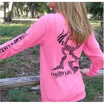 Country Life Outfitters Pink Zebra Deer Head Hunt Vintage Long Sleeve Bright T Shirt