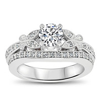 Diamond Butterfly Style Engagement Ring and Matching Band  - Butterfly Kisses Wedding Set