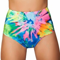 Tie Dye High-Waisted Scrunch Booty Shorts