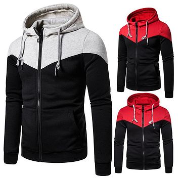 Men's Hooded Two-color Stitching Zipper Sports Hooded Sweaters