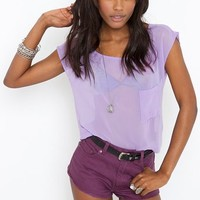Chiffon Pocket Tee - Lilac in  What's New at Nasty Gal