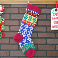 Argyle Christmas Stocking, Hand Knit Fair Isle Christmas Stocking with Kelly Green Trees and Taupe Stars, Can be Personalized, Gift Idea