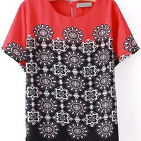 Red and Black Short Sleeve Floral Chiffon Blouse