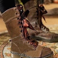 New Brown Round Toe Chunky Chain Fashion Mid-Calf Boots