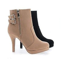 Loma58 By Top Moda, Round Toe Zip Up Low Platform Stiletto Heel Ankle Bootie