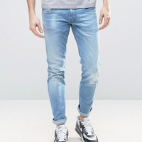 Replay Anbass Slim Stretch Jean Ice Blue Wash at asos.com