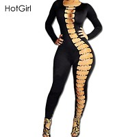Rompers Womens Jumpsuit 2017 Sexy Overalls Long Romper Chain Cross Hollow Out Bodycon Bodysuit Sexy Night Clubwear