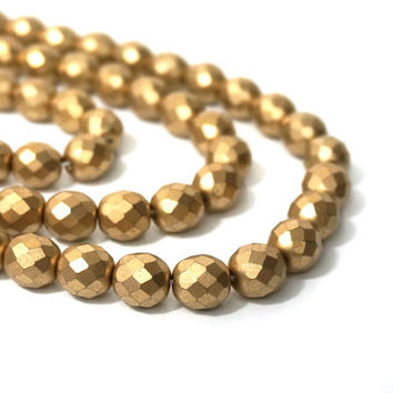 10mm Metallic gold glass beads, faceted round matte finish, full strand (858G)