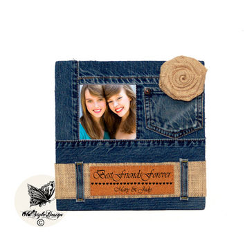 Best Friend Gift Will You Be My Bridesmaid Will You Be My Maid Of Honor Sister Gift Maid of Honor Personalized Frame Custom Gift Denim Frame