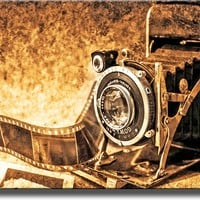 Old Photo Camera Picture on Stretched Canvas Wall Art Decor Ready to Hang!.