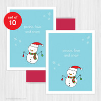 Christmas Card Set Holiday Cards Cute Snowman Handmade Greeting Merry Xmas Fun Peace Love Snow Happy Holidays Boxed Set Pack of 10