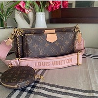 LV Louis Vuitton Fashion Handbag Leather Shoulder Bag Three-piece Set