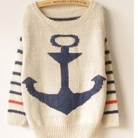 [192] Vintage Anchor Stripes Style Sweater in Blue