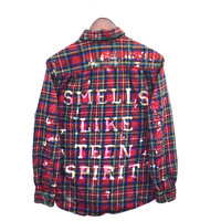 "Nirvana Flannel Shirt, ""Smells Like Teen Spirit"", in Red Tartan Plaid"