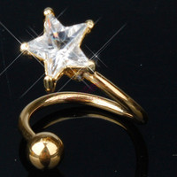 Star Crystal Gem Barbell Gold Tone Twist Spiral Navel Belly Button Ring Piercing