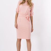 Plain Pencil Mid Dress With Belt