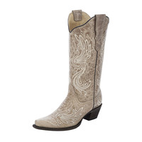 Corral Womens Bone Beige Embroidery Western Cowgirl Boot