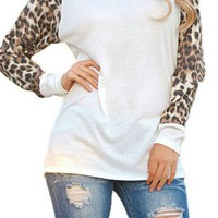 Walk in The Wild Leopard Top -White