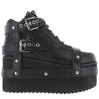 YRU ''QOZMO BONDAGE Platform Sneakers Boots in Black Goth Punk heavy metal