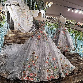 Lace-up Back Grey Mother-Daughter Gowns with Detachable Cape Dress