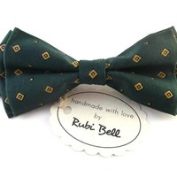 Bow Tie - green bow tie - wedding bow tie - green bow tie with yellow geometrical pattern - man bow tie - classic bow tie
