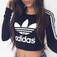"""Adidas"" Short Shirt Crop Long Sleeve Top Tee"