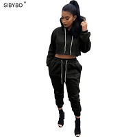 Hoodies 2017 Women New Autumn Style Hooded Long Sleeve Short Cropped Hoodie Jumpsuit Sexy Two Piece Outfits Casual Sweatshirt