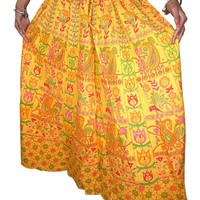Mogul Maxi Skirt Womans Yellow Sarong Print Bohemian Cotton Long Skirts India